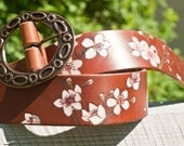 ECO-FRIENDLY Cherry Blossom Leather Belt