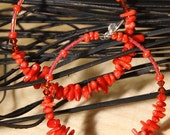 Reserved for Risa 1# Coral Branch Stick Earrings  Hoop style    CORAL BRANCHES
