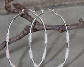 Sterling Silver -  LG - Oval  - Rope - Hoop  Style Earrings RESERVED for K.