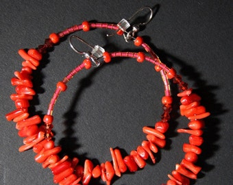 Coral  Hoop Earrings  -    Red Coral Branches -
