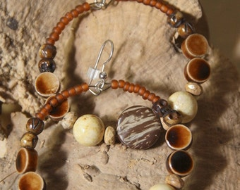 earings hoops - Crazy Lace Jasper Stones, Coconut Shell Let's Do The Coconut Dance