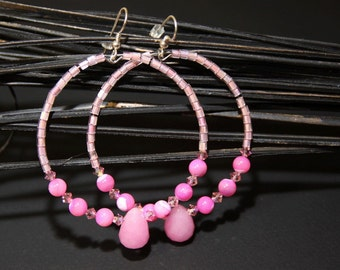 Hoops -  Pink Quartz  - Mother Of Pearl  - JAZZY PINK