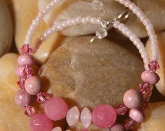 Hoop Earrings Rose Quartz Rhodonite, Rhodochrosite stones DELICATE IN PINK