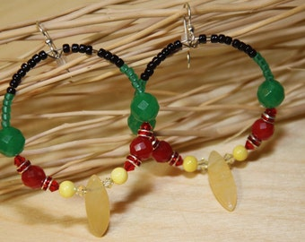 Earrings hoops  RASTA GIRL green, red, yellow Jade swarovski cyrstals