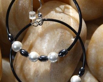 Hoops  Magnetic  Hematite Stones  Earrings  CONNECT ME