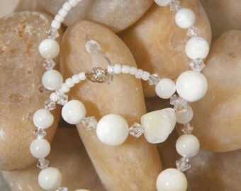 Hoops -  Mother of Pearl shell -   nugget - Swarovski Crystals -  Earrings  -  WALK ON ICE