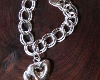1-  925 Double Heart Charm Bracelet  TWO WARM HEARTS Sz.  6