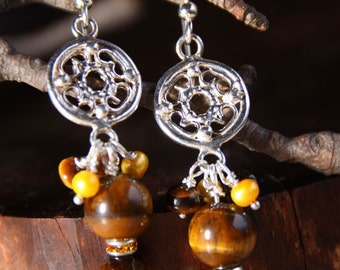 Sterling Silver- Tiger's Eye  stone - Mother Of Pearl - TIGERS EXPRESSION Dangle earrings