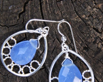 Teardrop Hoop Blue Quartz Stone  Earrings  -     BLUE SKIES