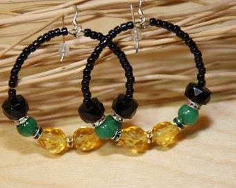 JAMAICAN Flag Colors  Jade Citrine color glass Onyx Stone Hoop Earrings