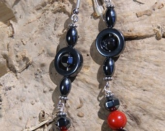 Hematite Coral Sterling Silver  RED PARADISE Dangle style earrings