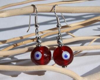 Red Evil Eye Dangle Drop Earrings, Glass, Sterling silver