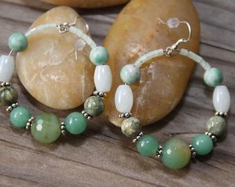 Hoops New Jade Amozonite  Tree Agate Stones Medium SZ Earrings