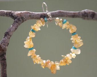 """2"""" 1/2  Citrine Stone Hoop Earrings  and Turquoise Stones"""
