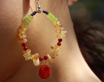 Earrings Citrine Stone Chips Red Coral Lime Green Quartz Rasta Hoops