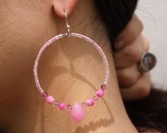 Hoop Pink quartz stones Mother Of Pearl Earrings  Pinkety Pinkety Pink Pink