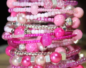 Bazooka Bubble Gum Pink      Women's Beaded  Cuff  17 coil Wrap  around