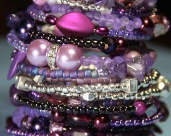 Women's Beaded Cuff  17  Coil wrap Bracelet       The Purple Group