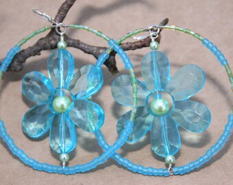Turquoise-Lime Green Acrylic Flower Hoop Earrings