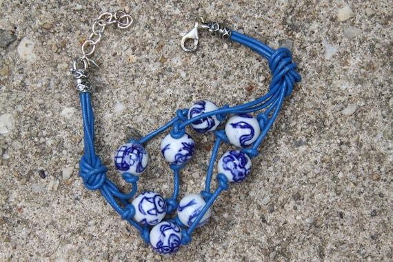 Women's Porcelain bead Greek leather lace  bracelet  -   More Of The Orient