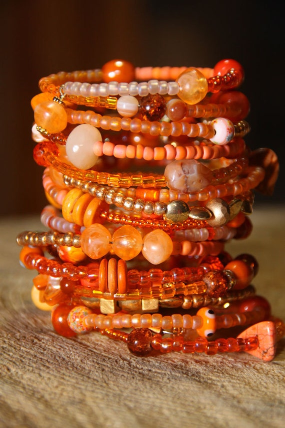 TANGERINE  Beaded -  19 Coil wrap around Cuff     SPRING / SUMMER 2012 colors