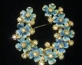 Vintage Horseshoe shaped Wreath Blue Enamel with rhinestones Brooch Kramer