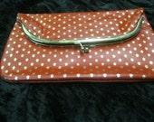 Red Leather  w Fleur de Lis Gold Print Clutch Bag  Italy