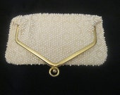 White beaded lined gold trim envelope clutch bag purse