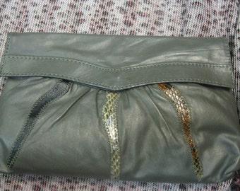 Vintage Grey Gray Leather Envelope Clutch Crossbody Purse