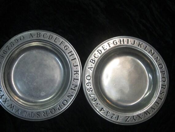 Vintage Wilton-Columbia PA USA RWP Alphabet pewter plate