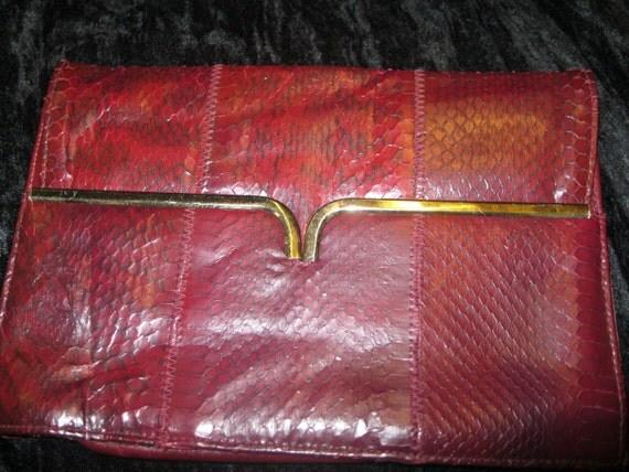 Vintage Burgandy Snake Skin Clutch Bag Purse by Margolm