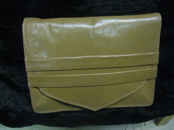 Vintage Tan Double Strip Closure Envelope Clutch Bag Purse Italy