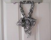 Chiffron Scarf -Black and White Broken Stripe