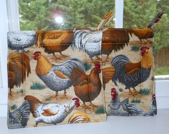 Potholder Brown Roosters- set of 2-Kitchen decor-Thanksgiving's Holiday