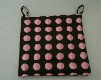 Dark Burgundy and pink Dots- Potholder Set of 2