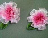 Cute Pink Flower Ribbon Hair Clips