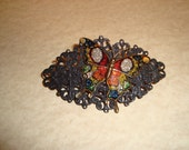 Black Barrette with Multicolor Butterfly