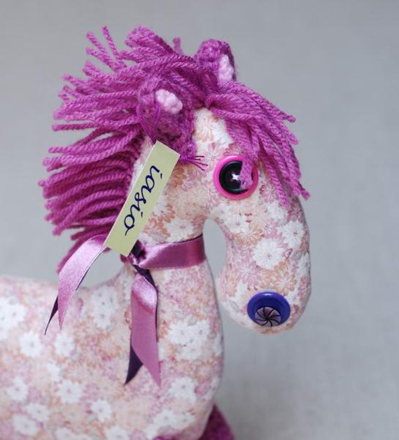 horse - ooak - cotton - toy - pink