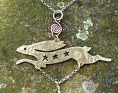 Celestial Hare Pendant, Jewellery, SquareHare UK, Free Shipping, Vegan