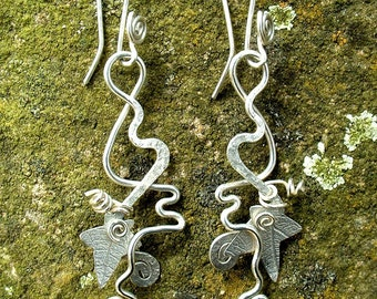 Ivy Earrings Hedgerow silver SquareHare FREE POSTAGE UK vegan jewellery countryside celebration summer festival wedding bridal bridesmaid