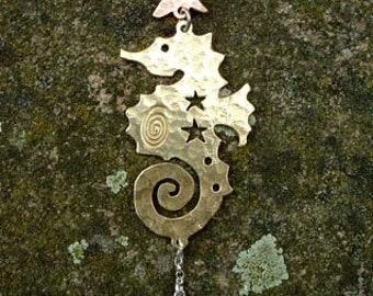 Celestial Seahorse Pendant, SquareHare, UK,  Free Postage, Vegan Jewelery Sea Witch Mermaid