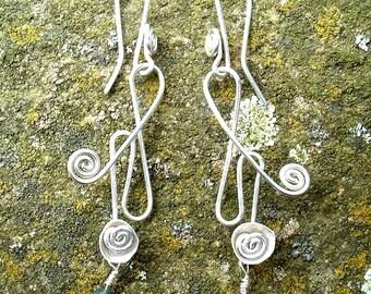 Heather Bell Earrings pendant necklace bracelet, Jewellery Silver, SquareHare, UK, Free Postage, Vegan