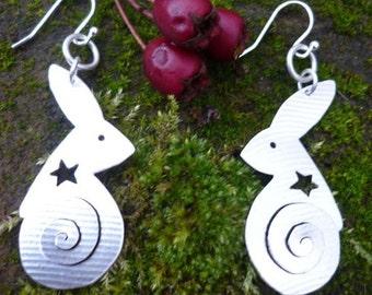 Hare Spiral Earrings, Jewellery, Silver, SquareHare, UK,  Free Shipping, Vegan