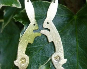 Dancing Hare Earrings ,Jewellery, Vegan, UK,  Free Postage, SquareHare