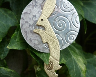 Luner Hare Jewellery Pendant, silver and brass,  SquareHare, Free shipping, UK, vegan