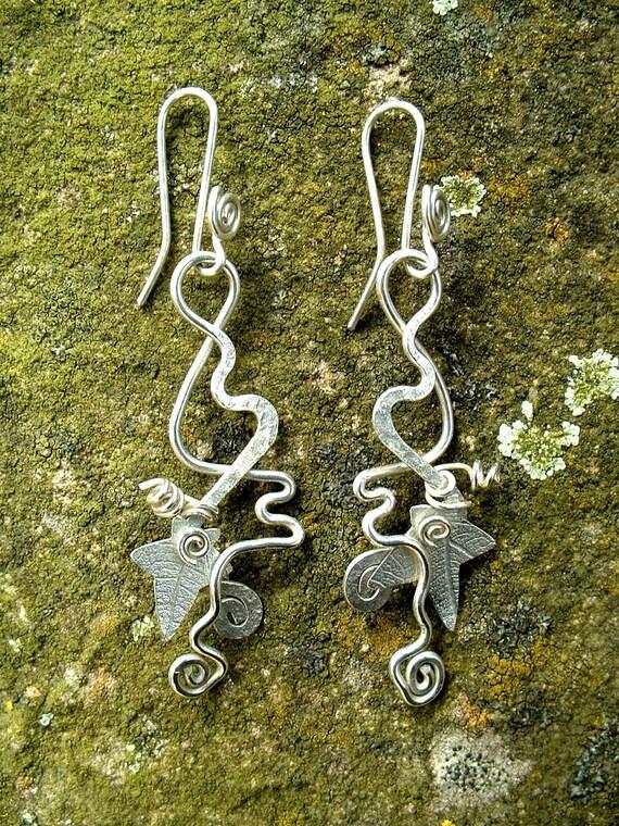 Ivy Earrings Hedgerow silver, SquareHare, FREE POSTAGE, UK, vegan jewellery