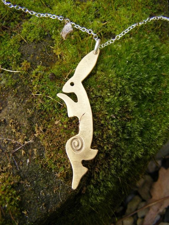 Dancing Hare Pendant, Brass,  Free shipping, UK, SquareHare, Vegan