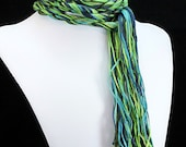 Eco Friendly Skinny Scarf - Island Dreams - Blue, Green, Gold, Turquoise, and Brown