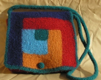 Knitting Pattern - Log Cabin Felted Purse