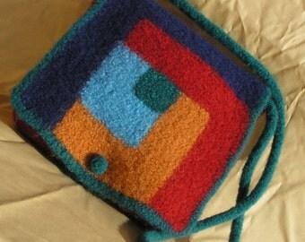 Log Cabin Felted Purse - messenger style bag - Pattern